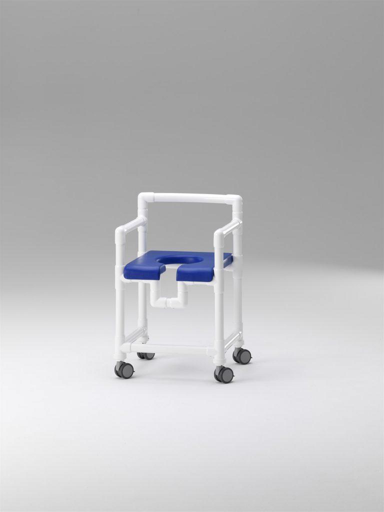 Taburete de ducha con asiento de herradura, respaldo y apoyabrazos