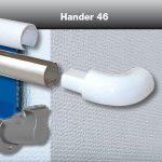 Pasamanos Decoba en policarbonato ignífugo B-s1,d0. Despiece de carcasa, perfil de aluminio, soporte mural y terminal