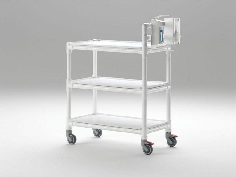 Carro en resina blanca antibacteriana de alta resistencia de 30 kg por bandeja