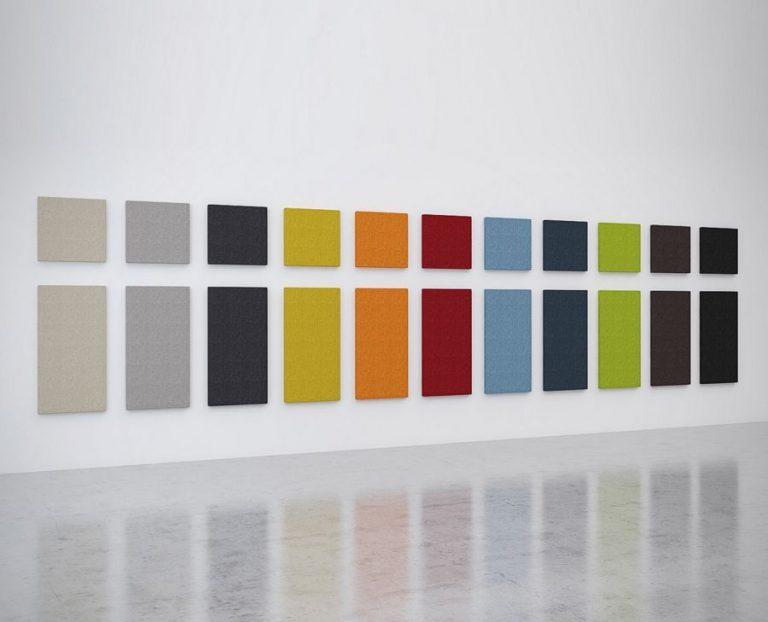 Paneles murales de absorción de ruido DIVI put.on en toda la gama de colores y en dos formatos, cuadrado y rectangular. Clase absorción de ruido A