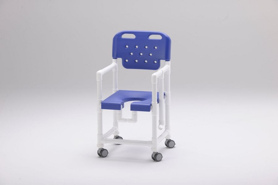 Silla de ducha con asideros integrados en el respaldo ergonómico y asiento con abertura higiénica o de herradura