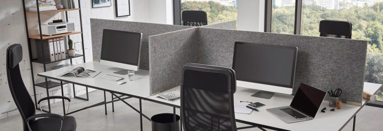 Pantalla de escritorio Divi Smart, fonoabsorbente, con clase de absorción de ruido C, para mesa de escritorio en oficina