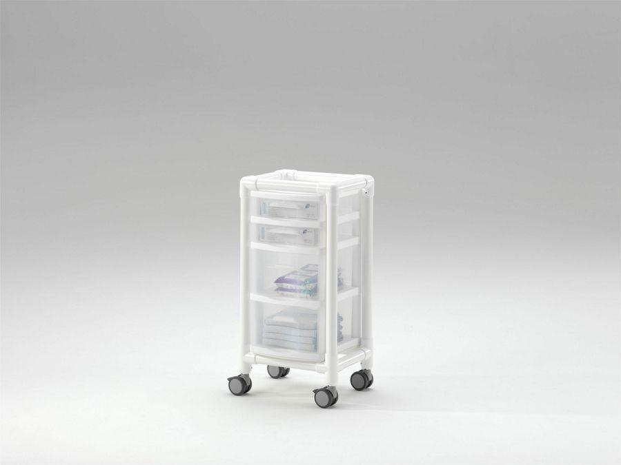 Carro higiénico o de aislamiento con cajones transparentes